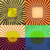 Комплект предпосылки Grunge Sunburst ретро текстурированный Стоковые Изображения