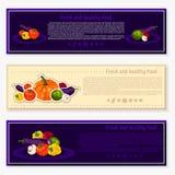 Комплект предпосылок вектора, знамен о здоровой еде Элементы овощей вектора для infographics Овощи Стоковое фото RF