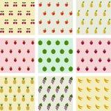 Комплект предпосылок плодоовощей образцов безшовных Стоковая Фотография