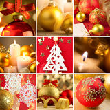 Комплект предпосылок рождества красных и золотых Стоковое Фото