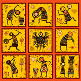 Комплект 9 предпосылок с африканскими этническими картинами Стоковые Фотографии RF
