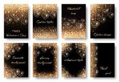 Комплект предпосылок с золотыми сердцами Стоковая Фотография