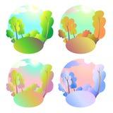 Комплект предпосылок яркого вектора естественных 4 сезона в природе - лете, зима, падение, весна Парк или каникулы города Стоковые Изображения