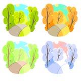 Комплект предпосылок яркого плоского вектора естественных 4 сезона в природе - лете, зима, падение, весна Парк города или Стоковое фото RF