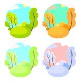 Комплект предпосылок яркого плоского вектора естественных 4 сезона в природе - лете, зима, падение, весна Парк города или Стоковое Изображение