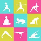 Комплект 9 представлений йоги для беременных женщин Стоковые Изображения