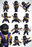 Комплект 11 представления Ninja в голубое кимоно Стоковое Фото
