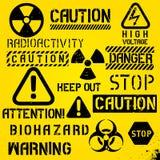 Комплект предупреждающих символов опасности Стоковое Фото