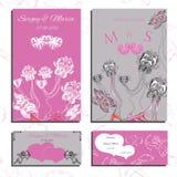 Комплект приглашений и карточек свадьбы Стоковая Фотография