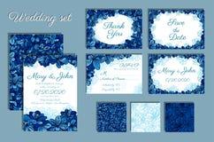 Комплект приглашений свадьбы и безшовной картины для вашего дизайна Стоковое Изображение