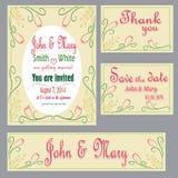 Комплект приглашения к свадьбе Стоковые Фотографии RF