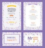 Комплект приглашения партии праздника Puprle вектора Стоковые Изображения