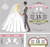 Комплект приглашения свадьбы Ретро жених и невеста шаржа иллюстрация штока