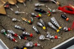 Комплект прикормов для рыбной ловли льда, макроса Стоковые Фото
