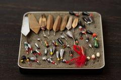 Комплект прикормов для рыбной ловли льда Стоковое Фото
