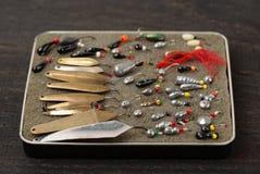 Комплект прикормов для рыбной ловли льда Стоковые Фото