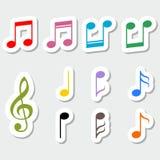 Комплект примечаний музыки, дизайн стикера цвета Стоковая Фотография RF