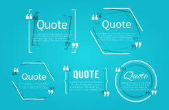Комплект пробелов цитаты с пузырем текста с запятыми Стоковая Фотография RF