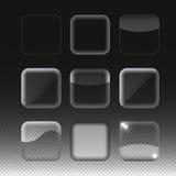 Комплект прозрачных стеклянных кнопок вектор Стоковое Фото