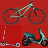 Комплект простого вектора TransportationBicycle, самоката, Motobike Стоковые Фотографии RF