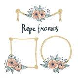 Комплект простой веревочки обрамляет графические дизайны на белой предпосылке с цветками Стоковая Фотография RF