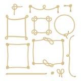 Комплект простой веревочки обрамляет графические дизайны Стоковая Фотография RF