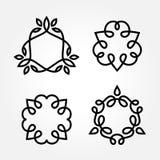 Комплект простой линии дизайна логотипа вензеля искусства иллюстрация штока