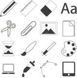 Комплект простых значков канцелярских принадлежностей и дела Стоковые Изображения