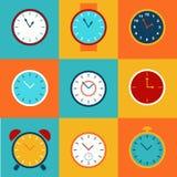 Комплект простых значков часов Иллюстрация вектора