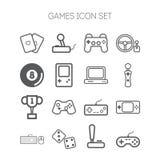Комплект простых значков для видеоигр, регуляторов, сети и применений Стоковое фото RF