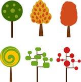 Комплект простых красочных плоских деревьев Стоковые Изображения