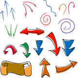 Комплект простых стрелок и знаков raznotsvetoh иллюстрация вектора