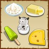 Комплект продуктов от молока, творога, сыра и больше Стоковые Фотографии RF