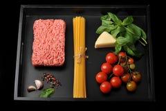 комплект продуктов для варить итальянские блюда Стоковые Фото