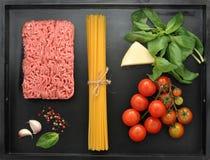 комплект продуктов для варить итальянские блюда Стоковая Фотография