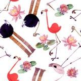 Комплект птицы акварели Фламинго, страус, аист иллюстрация вектора