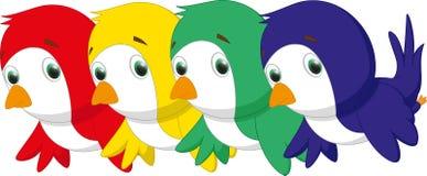 Комплект 4 птиц шаржа в 3 цветах Стоковые Изображения RF