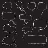 Комплект пузырей речи на черной предпосылке Стоковые Фотографии RF