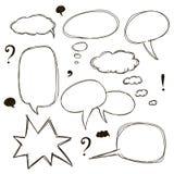 Комплект пузырей речи стиля эскиза Стоковые Фотографии RF