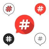 Комплект пузырей речи с значком hashtag иллюстрация штока