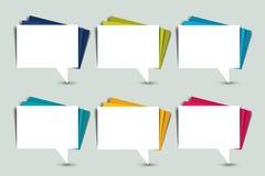 Комплект пузырей речи цвета Бумажные стикеры Стоковые Изображения RF