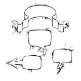 Комплект пузырей grunge чернил болтовни вектора Стоковые Изображения RF