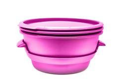 Комплект пурпура пластмассы варя изолированные контейнеры Стоковые Фото