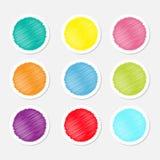 Комплект пустого красочного круглого стикера бирки кнопок ярлыка для влияния Scribble вебсайта изолировал плоский дизайн Стоковая Фотография RF