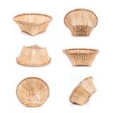 Комплект пустой бамбуковой корзины handmade на белизне Стоковая Фотография RF