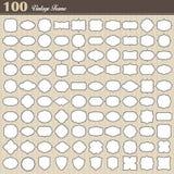Комплект пустой винтажной рамки 100 на белой предпосылке Стоковые Изображения