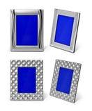 Комплект пустой серебряной рамки фото изолированной на белой предпосылке Стоковое Фото