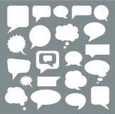 Комплект пустых белых пузырей речи плоско вектор стоковые изображения