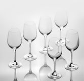 Комплект 6 пустых бокалов Стоковые Изображения