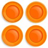 Комплект 4 пустых плит с различным дизайном Стоковые Изображения RF